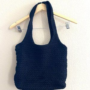 The Sak Black Crochet Woven Tote Purse